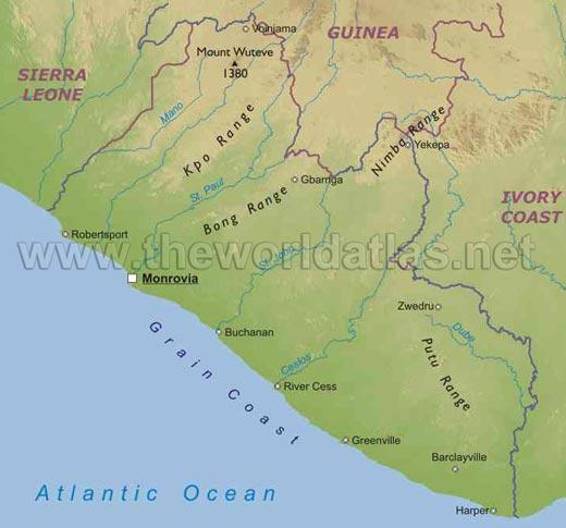 map of liberia africa. Liberia Map