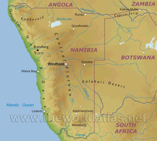 map of namibia africa. Namibia Map