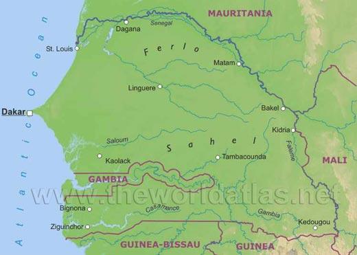 maps of senegal. Senegal Map
