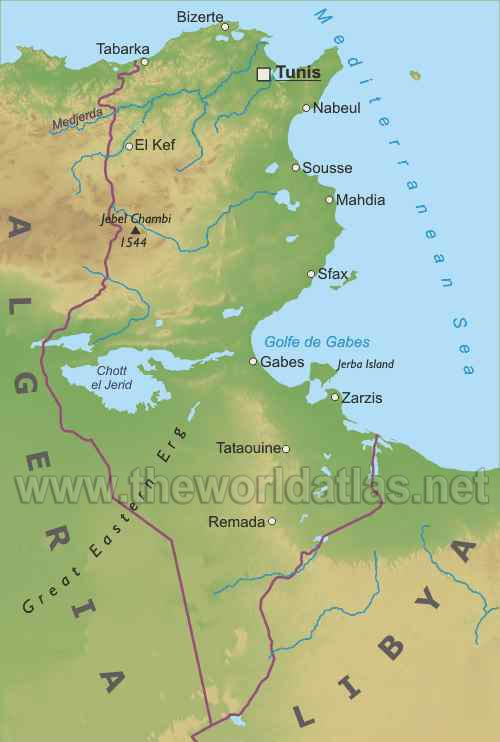 Tunisia map. Geographical map of Tunisia